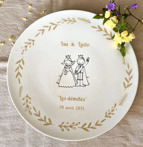 Plat personnalisé pour un cadeau de mariage