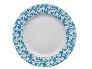Nara Porcelaine peinte à la main - Trianon Assiette Empire Dessert Bleu Geai