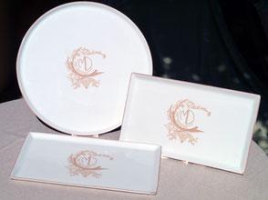 Vaisselle mariage personnalisée en porcelaine