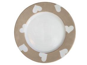 Nara Porcelaine Peinte à la main - Assiette Dessert Empire Cuivre Métallique