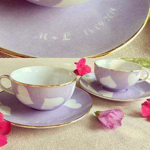 Tasse de thé en porcelaine personnalisée mariage