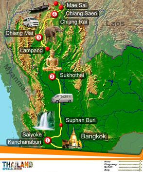 Reisekarte der Route Zur Rose des Nordens von den Thailand-Spezialisten