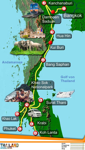 Von Bangkok in den Süden Überland - Reise von den Thailand-Spezialisten