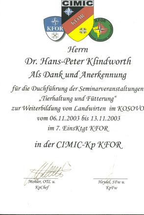 Seminare im Kosovo für die CIMIC-Kompanie der Bundeswehr.
