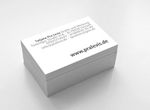 Gestaltung, Entwurf, Produktion von Visitenkarten, Businesscards, Briefpapier, Briefbogen, Couverts, Briefhüllen, Terminkarten, Notizblöcken, Guest-Checks. Tatjana Pra Levis, Grafiker in Lörrach, auch für Riehen, Basel, Schweiz