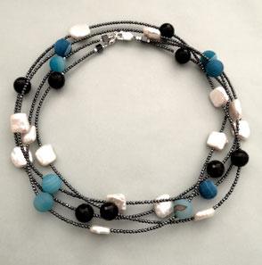 """""""Falling Ypsilon"""" aus Labradorit und Amazonit, Perlenschmuck, Süßwasserperlen, Perlenkette, Perlenarmband"""