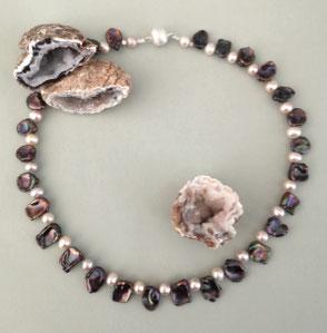 Armband Calcit und Onyx mit Sterlingsilber, Perlenschmuck, Perlenkette, Perlenarmband, Perlenrausch-Regensburg