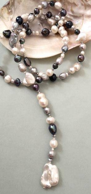 Y-Kette UNIQUE CRYSTALL ROCK aus Süßwasserperlen und Bergkristall; Perlen, Perlenschmuck, Perlenarmband
