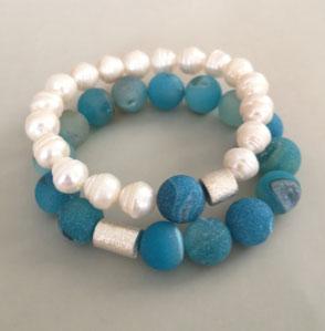 DOUBLE OR SINGLE - Süßwasserperlen und Onyx mit Hämatit, Perlenschmuck, Perlenkette, Perlenarmband, echte Perlen