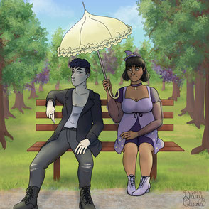 A digital painting of two characters sitting on a park bench in front of a sunlit park. The bright sun is beating down on the characters. The character on the right, Juniper, is holding a parasol at an angle to cover her companion Adrian in shadow.