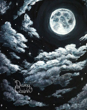Moon and clouds with sparkles painted in acrylics.
