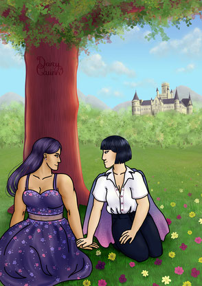 Two women sitting on a flower field under a tree. In the distance are hills with a forest and a castle. One woman is very muscular with long hair and a bouncy dress. The other has short hair and wears a white shirt tucked into highwaisted dark trousers.