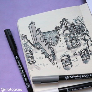 Sketchbook: drawing of architecture in Rotterdam, Brush Pens (2019)