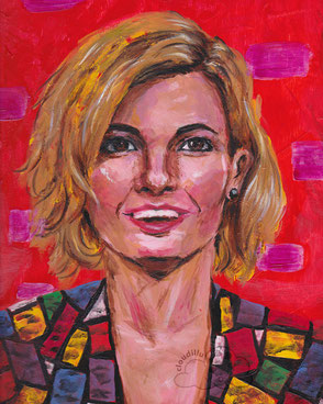 Acrylic portrait painting of Doctor Who actor Jodie Whittaker.