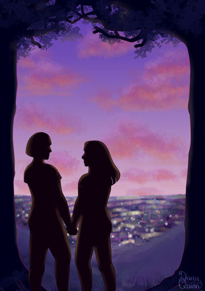 A digital art illustration of a sapphic / wlw / lesbian couple, their silhouettes standing on top of a hill on a beautiful sunset evening looking down on a town lit by electric lights.