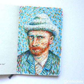 "Sketchbook: Study of Vincent van Gogh's ""Self-Portrait with Grey Felt Hat"", Alcohol markers (2019)"