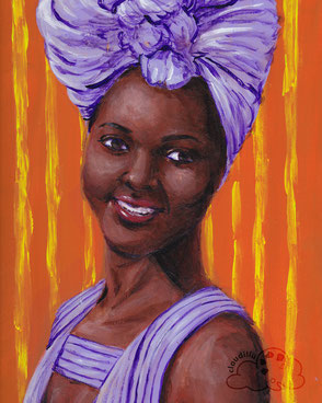 Acrylic portrait painting of actor Lupita Nyong'o.