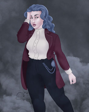 Digital illustration of a Victorian-style queer character with luscious long blue hair and a wine red coat.