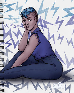 Queer vampire character sitting in profile in hues of blue and lilac.