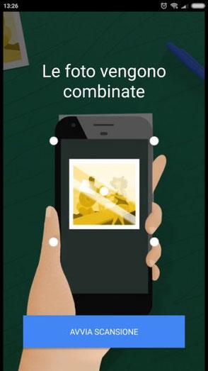 (3) Google PhotoScan - A questo punto l'app combina i quattro scatti e salva la foto nel tuo smartphone.
