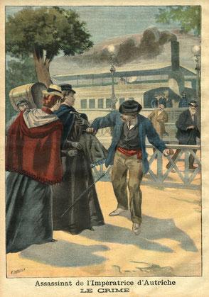 Lucheni sticht der Kaiserin eine Feile in die Brust