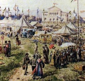 Blick auf die Wiesn im 19. Jahrhundert