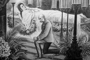 Der Kaiser am Totenbett seiner Frau