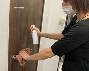 トイレドアの消毒