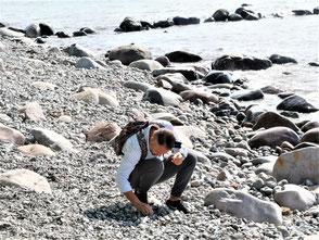 Suche nach Bernstein am Ostseestrand