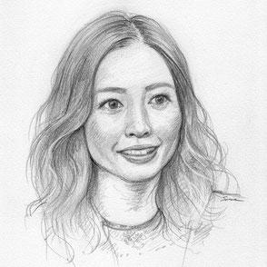 鉛筆で描かれたスケッチ肖像画