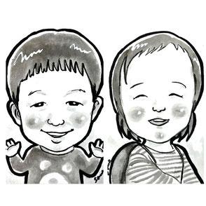 墨汁で描かれた手描き似顔絵