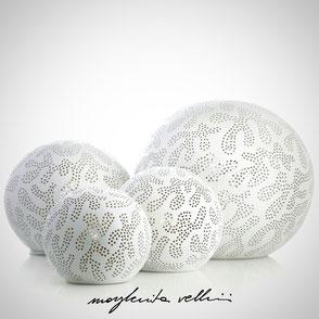 Sphere lamps GINGER matte white glaze. Margherita Vellini Ceramics Made in Italy Home Lighting Design