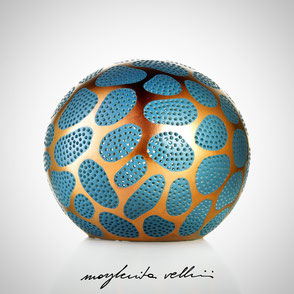 Sphere lamps CELLULE precious metal red gold 15% and teal green glaze. Margherita Vellini Italian handmade ceramics. Home Lighting Design