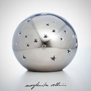 Lampade a sfera da appoggio tagli STELLATO finitura in metallo prezioso Platino 15%  Margherita Vellini Ceramica Made in Italy Home Lighting Design