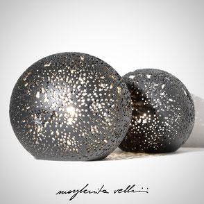 Sphere lamps PIANETA  matte charcoal glaze Margherita Vellini Italian handmade ceramics. Home Lighting Design