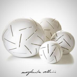Sphere lamps RADI shiny white glaze.  Margherita Vellini Ceramics Made in Italy Home Lighting Design