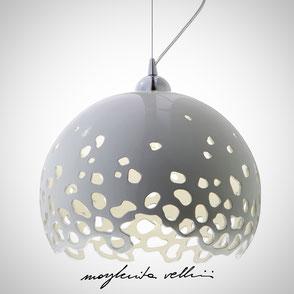 Hanging lamp BLOB shiny white glaze . Margherita Vellini Ceramics Made in Italy Home Lighting Design