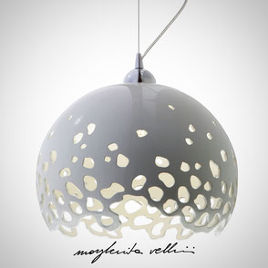 Hanging lamp BLOB shiny white glaze . Margherita Vellini Ceramics Made in Italy Home Lighting Design