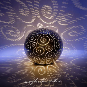 Sphere lamps SPIRALI precious metal Platinum 15% Margherita Vellini Italian handmade ceramics. Home Lighting Design