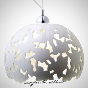 Hanging lamp PIZZO shiny white glaze . Margherita Vellini Ceramics Made in Italy Home Lighting Design