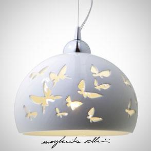 Hanging lamp FARFALLE shiny white glaze. Margherita Vellini Ceramics Made in Italy Home Lighting Design
