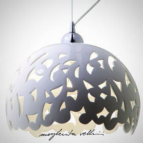 Hanging lamp BAROCCO shiny white glaze . Margherita Vellini Ceramics Made in Italy Home Lighting Design