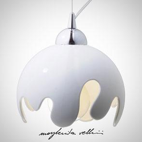 Hanging lamp ONDA shiny white glaze . Margherita Vellini Ceramics Made in Italy Home Lighting  Design