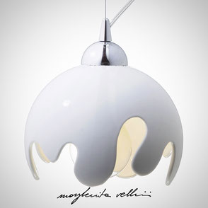 Hanging lamp ONDA shiny white glaze . Margherita Vellini Ceramics Made in Italy Home Lighting  Design