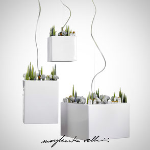 Hanging lamp COLLINE shiny white glaze. Margherita Vellini Ceramics Made in Italy Home Lighting Design