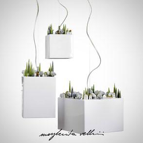 Hanging lamp COLLINE shiny white glaze. Margherita Vellini Ceramics Made in Italy Home Lighting Design
