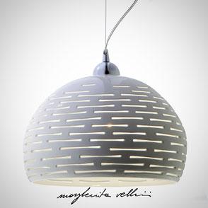 Hanging lamp ORIZZONTALI shiny white glaze. Margherita Vellini Ceramics Made in Italy Home Lighting Design