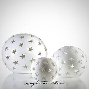 Lampade a sfera da appoggio tagli STELLE finitura in Maiolica bianca  Margherita Vellini Ceramica Made in Italy Home Lighting Design
