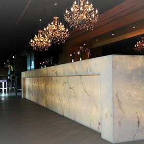 Alabaster Stone - Marmor Platten - Retail - POS - Hotel  - renewable - resin marble - Onix - Faux Marmor