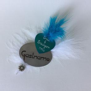 Magnetisches Namensschild für die Hochzeitsgäste mit persönlicher Lasergravur